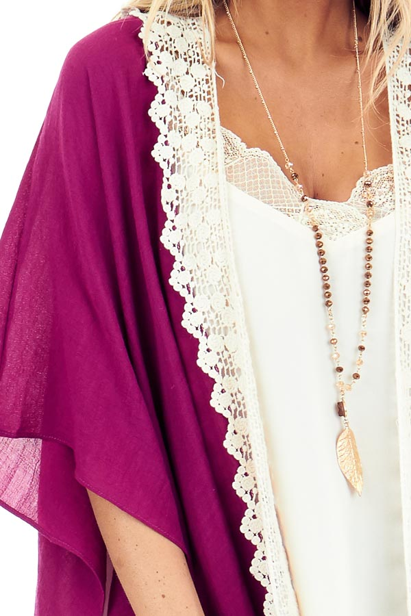 Magenta Open Front Kimono with Cream Lace Details detail