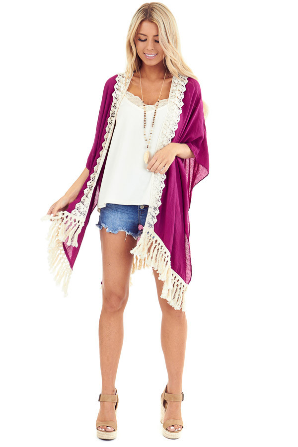 Magenta Open Front Kimono with Cream Lace Details front full body