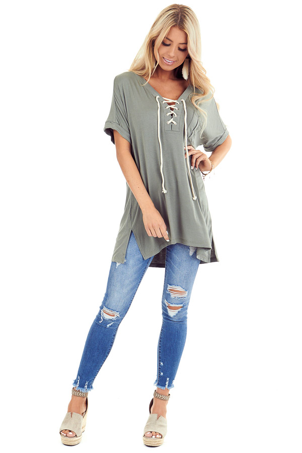 Army Green Lace Up Short Sleeve Top with Chest Pocket front full body