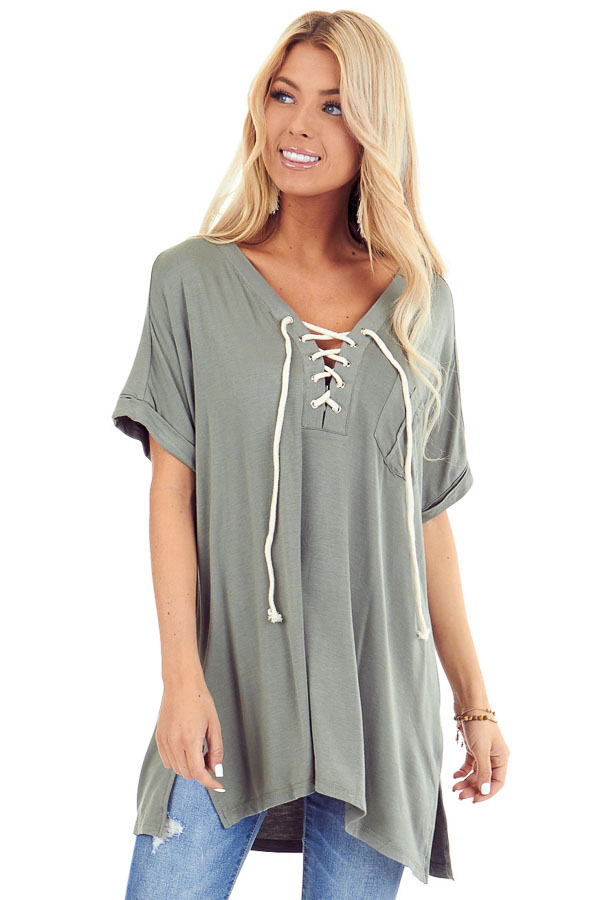 Army Green Lace Up Short Sleeve Top with Chest Pocket front close up