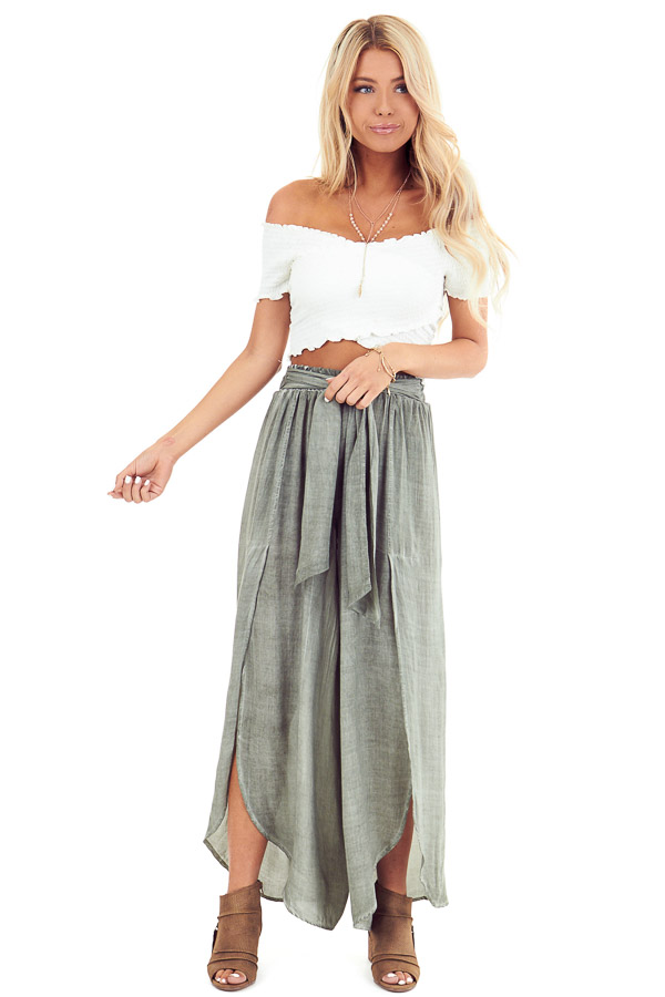 Sage Stonewash Wide Leg Pants with Waist Tie and Slits front full body