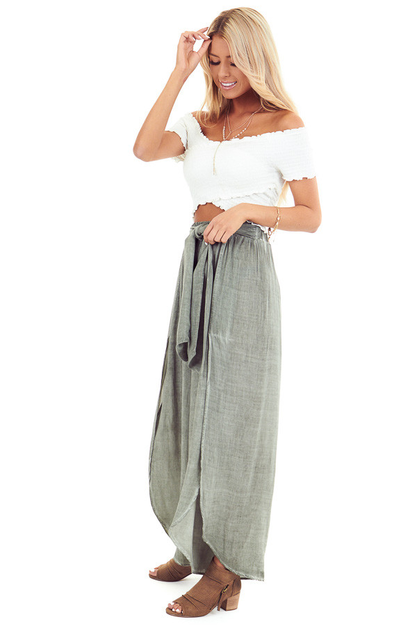 Sage Stonewash Wide Leg Pants with Waist Tie and Slits side full body