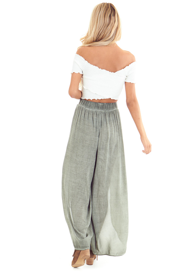 Sage Stonewash Wide Leg Pants with Waist Tie and Slits back full body