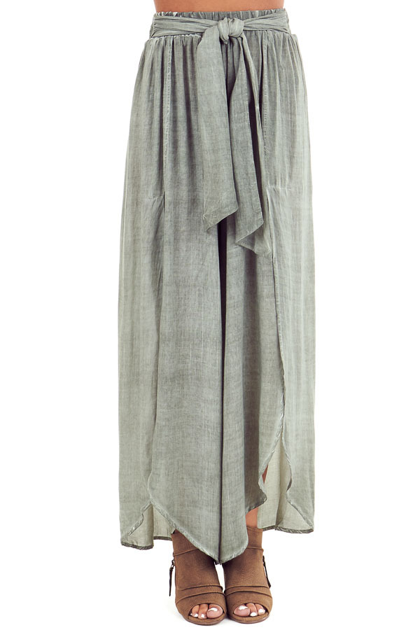 Sage Stonewash Wide Leg Pants with Waist Tie and Slits front view