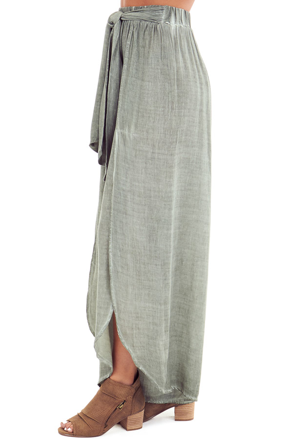 Sage Stonewash Wide Leg Pants with Waist Tie and Slits side view
