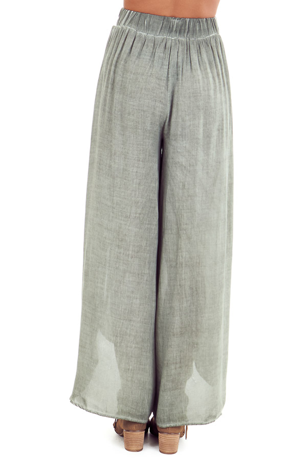 Sage Stonewash Wide Leg Pants with Waist Tie and Slits back view