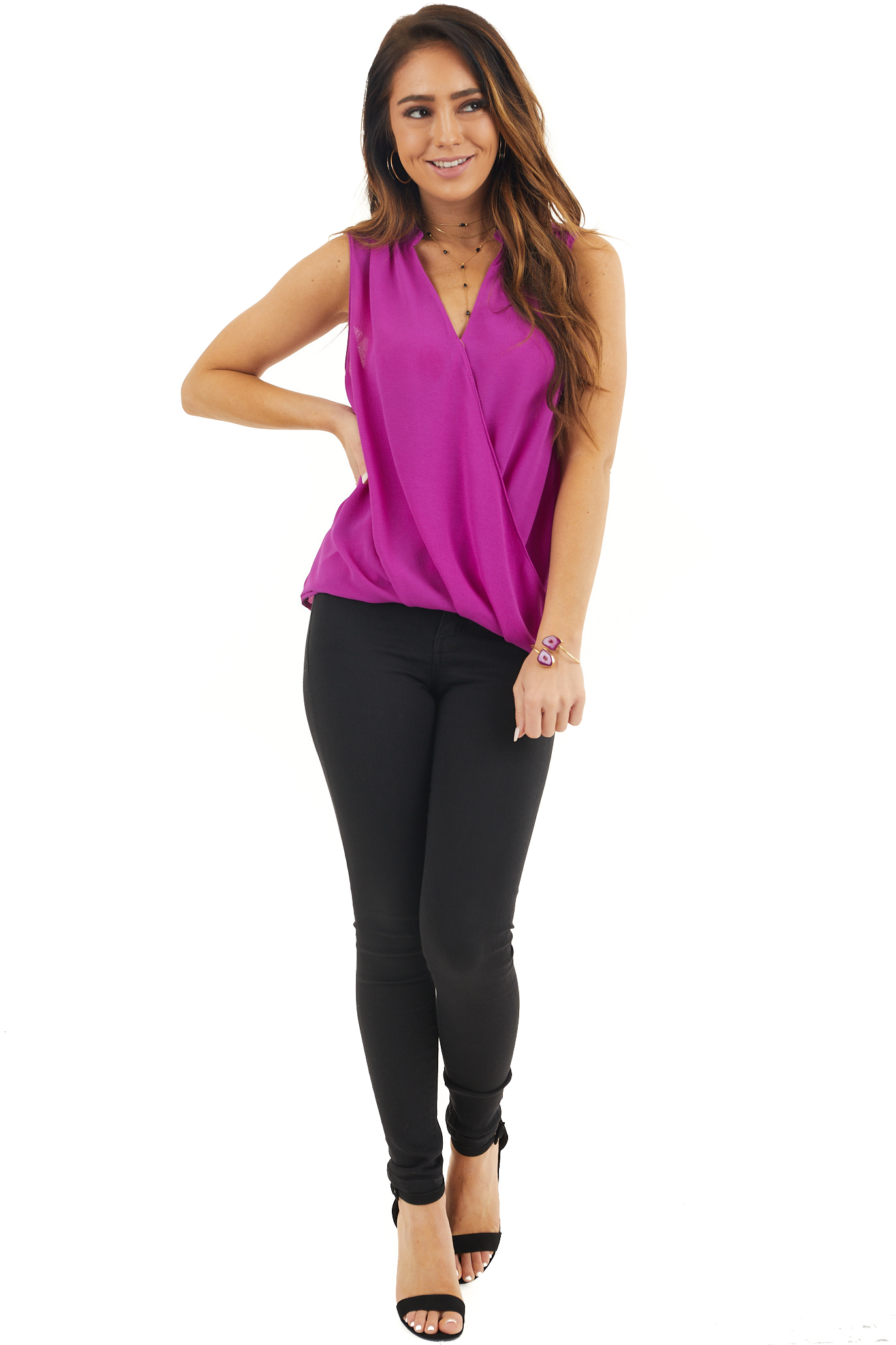 Grape Draped Surplice V Neck Tank Top with High Low Hemline