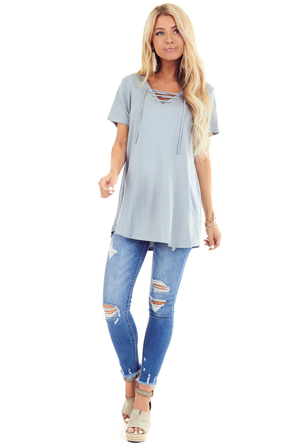 Dusty Seafoam Short Sleeve Top with Lace Up Detail front full body