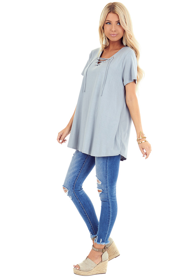 Dusty Seafoam Short Sleeve Top with Lace Up Detail side full body