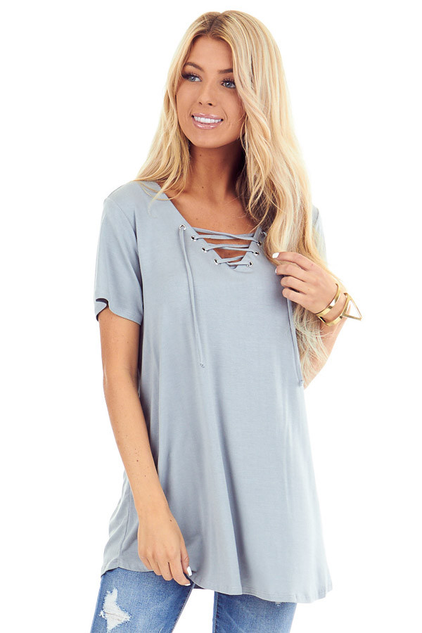 Dusty Seafoam Short Sleeve Top with Lace Up Detail front close up