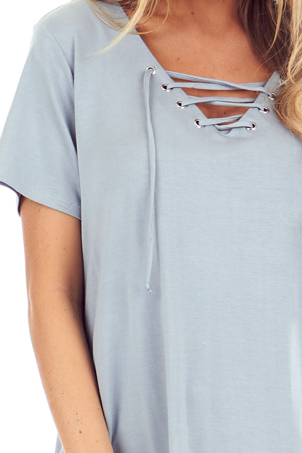 Dusty Seafoam Short Sleeve Top with Lace Up Detail detail