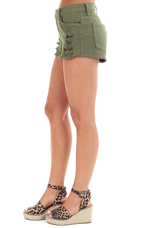 Army Green Mid Rise Distressed Denim Shorts side view