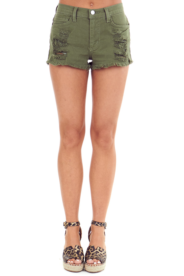 Army Green Mid Rise Distressed Denim Shorts front view