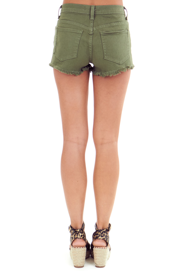 Army Green Mid Rise Distressed Denim Shorts back view