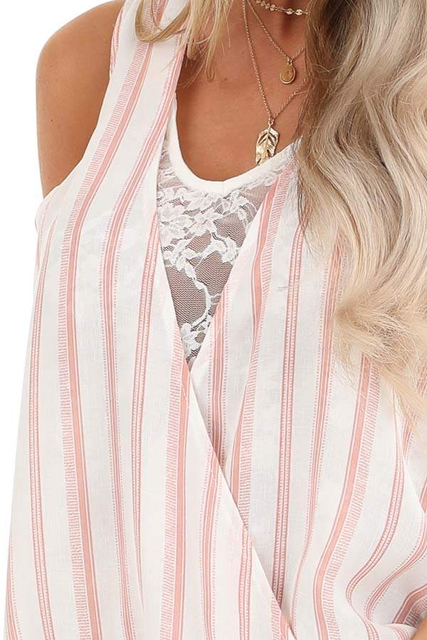 Blush and Ivory Striped Surplice Tank Top with Lace Detail detail