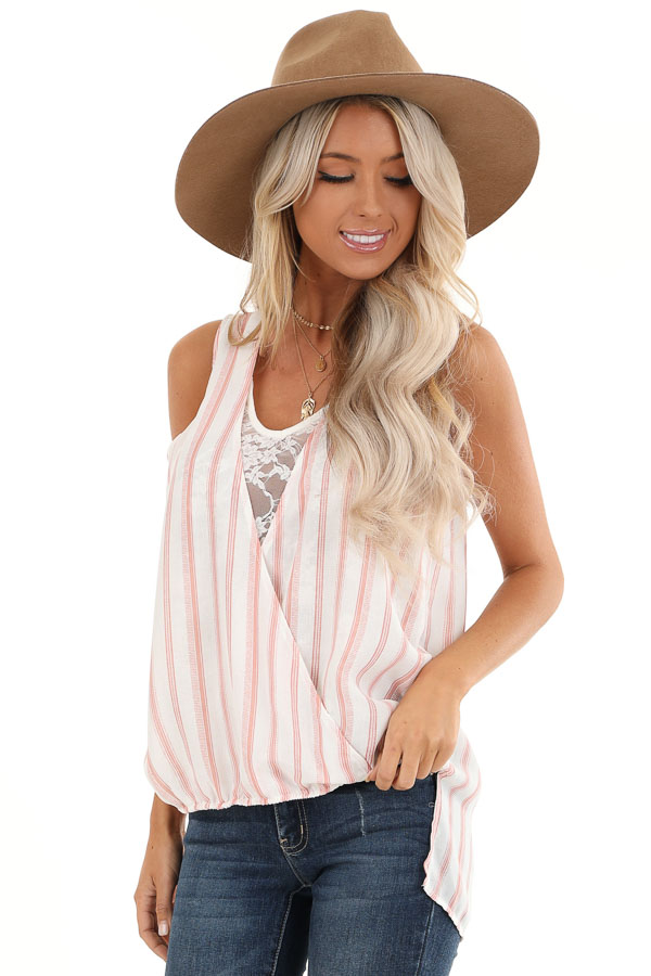Blush and Ivory Striped Surplice Tank Top with Lace Detail front close up