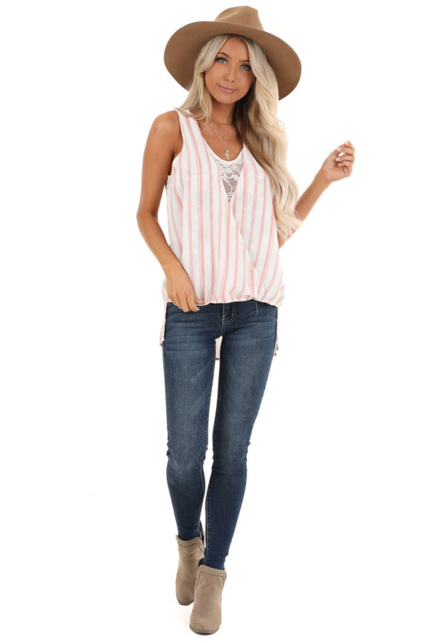 Blush and Ivory Striped Surplice Tank Top with Lace Detail front full body