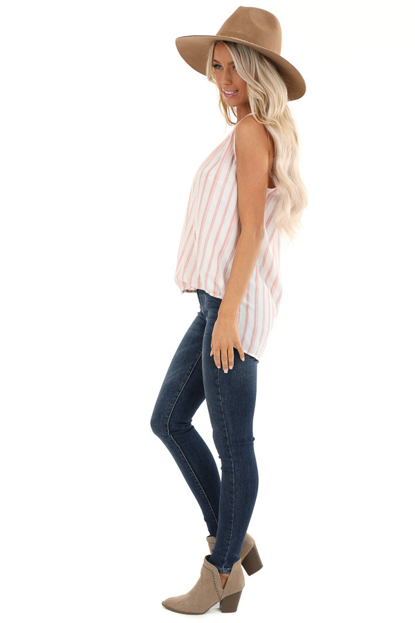 Blush and Ivory Striped Surplice Tank Top with Lace Detail side full body