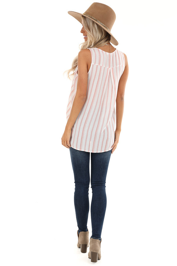 Blush and Ivory Striped Surplice Tank Top with Lace Detail back full body