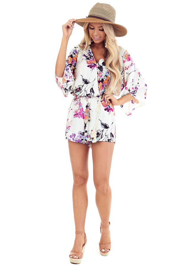 Off White Floral Print Romper with Tassel Waist Tie front full body
