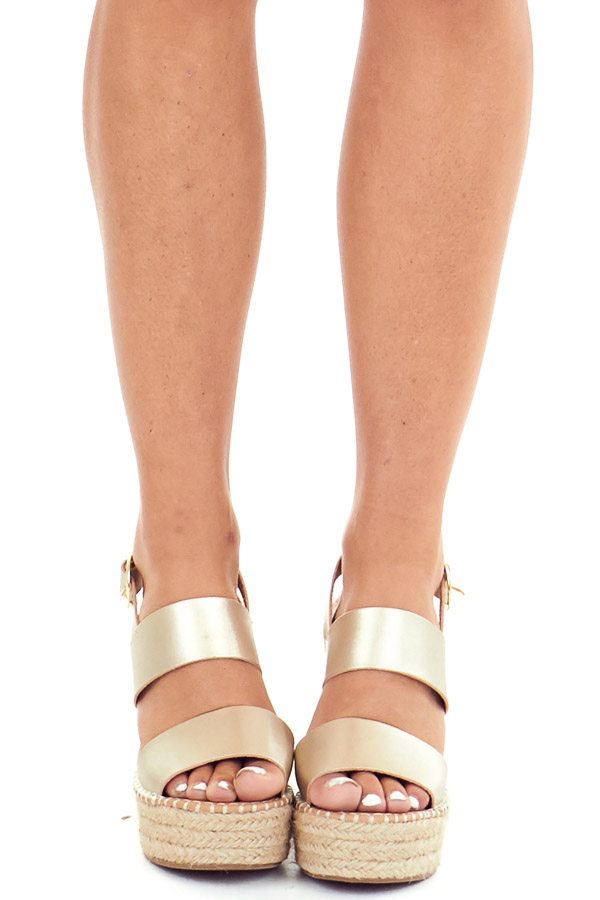 Gold Espadrille Wedge Sandals with Ankle Strap front view