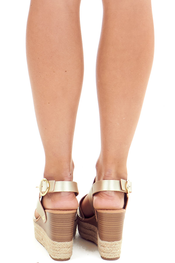 Gold Espadrille Wedge Sandals with Ankle Strap back view