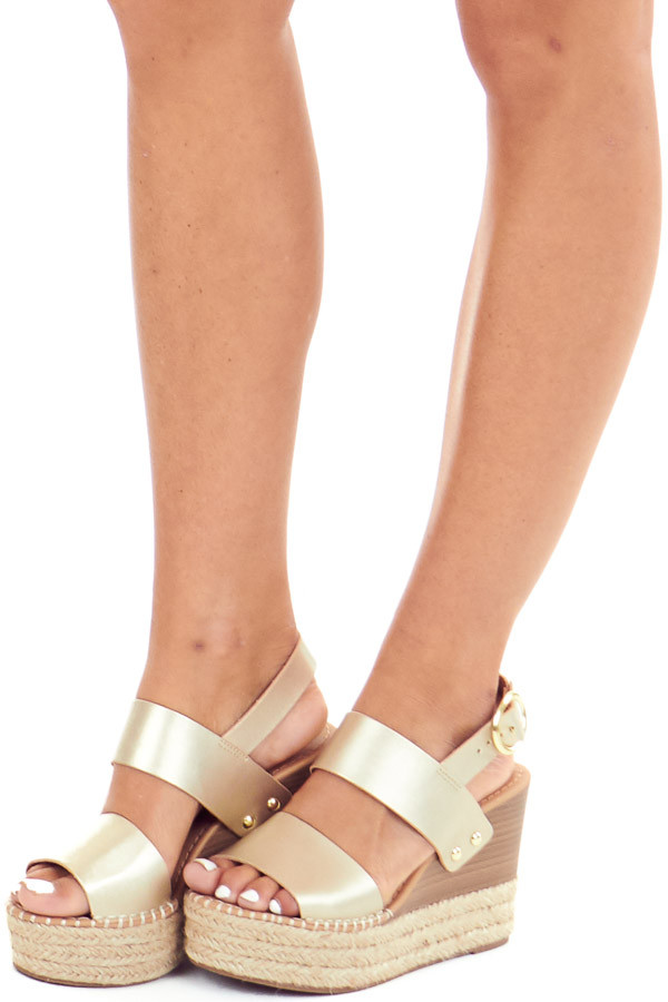 Gold Espadrille Wedge Sandals with Ankle Strap front side view