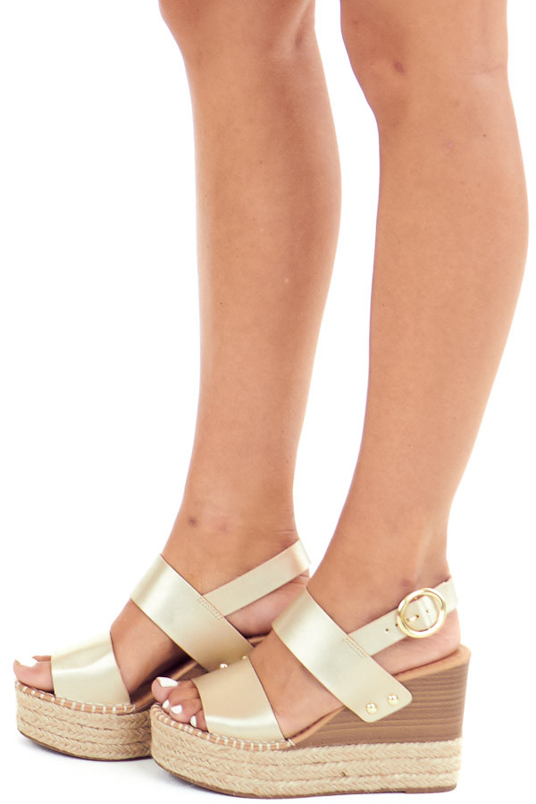 Gold Espadrille Wedge Sandals with Ankle Strap side view