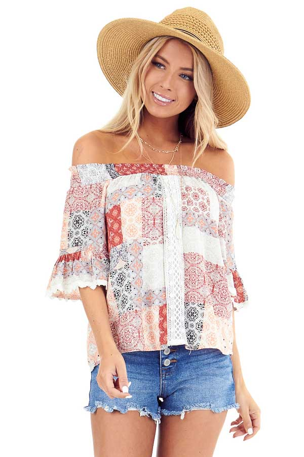 Peach and Ivory Multi Print Off the Shoulder Bell Sleeve Top front close up
