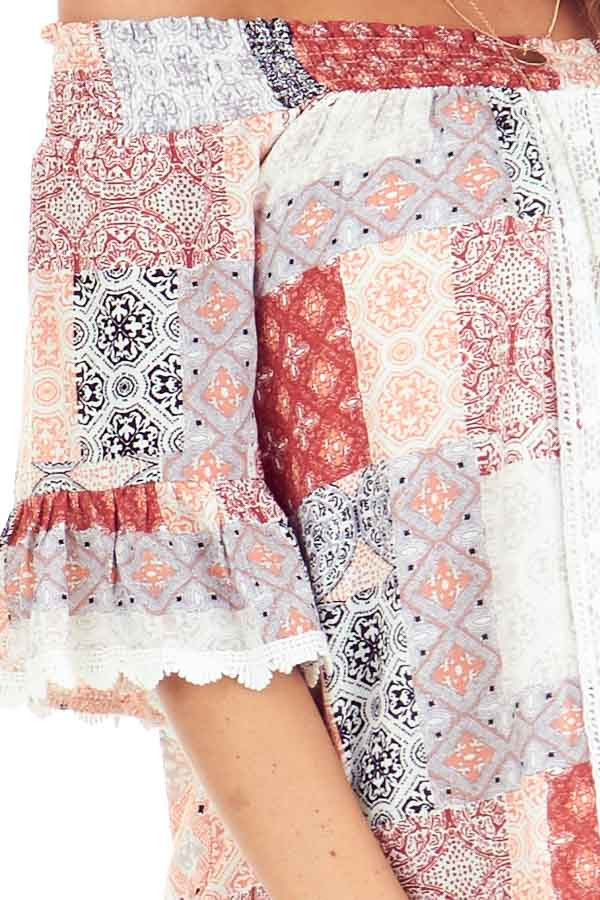Peach and Ivory Multi Print Off the Shoulder Bell Sleeve Top detail