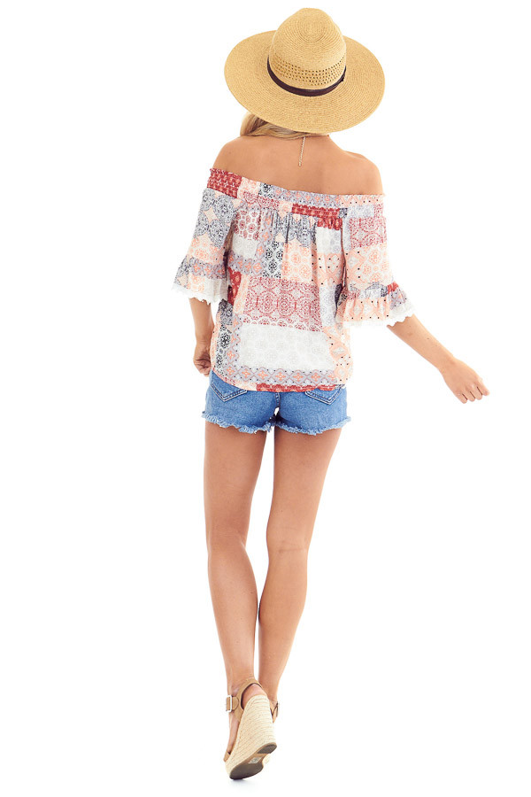 Peach and Ivory Multi Print Off the Shoulder Bell Sleeve Top back full body
