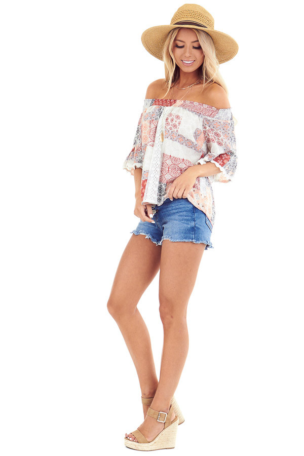 Peach and Ivory Multi Print Off the Shoulder Bell Sleeve Top side full body