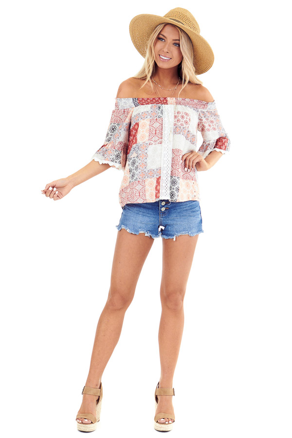 Peach and Ivory Multi Print Off the Shoulder Bell Sleeve Top front full body