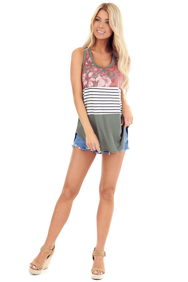 Marsala Floral Olive and Striped Color Block Tank Top front full body