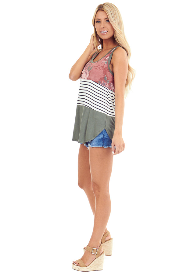 Marsala Floral Olive and Striped Color Block Tank Top side full body
