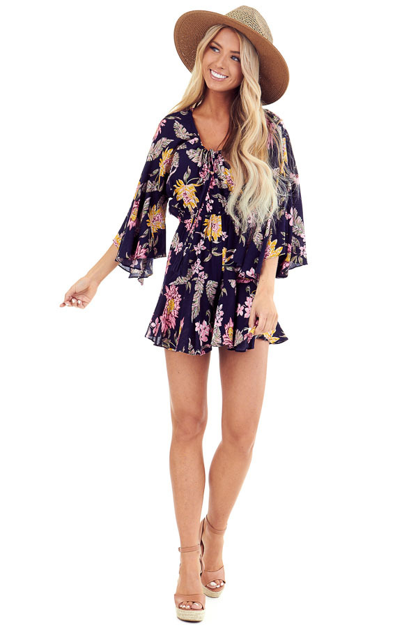 Midnight Floral Print Romper with Bell Sleeves and Front Tie front full body