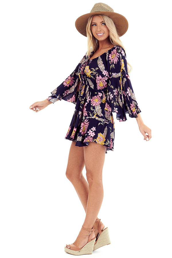 Midnight Floral Print Romper with Bell Sleeves and Front Tie side full body