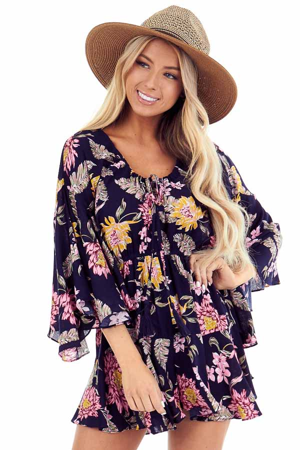 Midnight Floral Print Romper with Bell Sleeves and Front Tie front close up