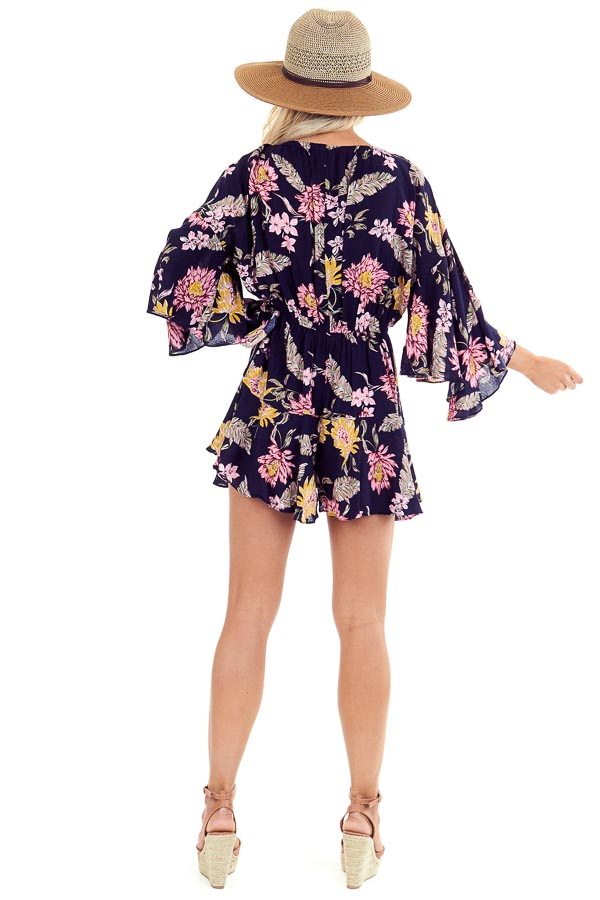 Midnight Floral Print Romper with Bell Sleeves and Front Tie back full body
