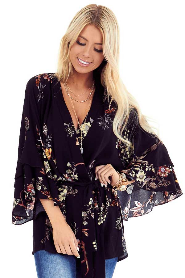 Black Floral Print Kimono with Tiered Ruffle Sleeves and Tie front close up