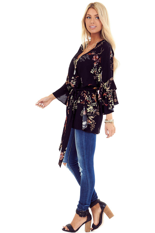 Black Floral Print Kimono with Tiered Ruffle Sleeves and Tie side full body
