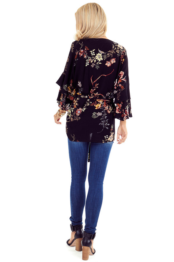 Black Floral Print Kimono with Tiered Ruffle Sleeves and Tie back full body