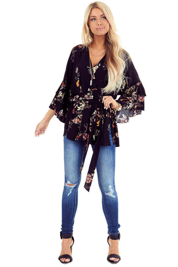 Black Floral Print Kimono with Tiered Ruffle Sleeves and Tie front full body