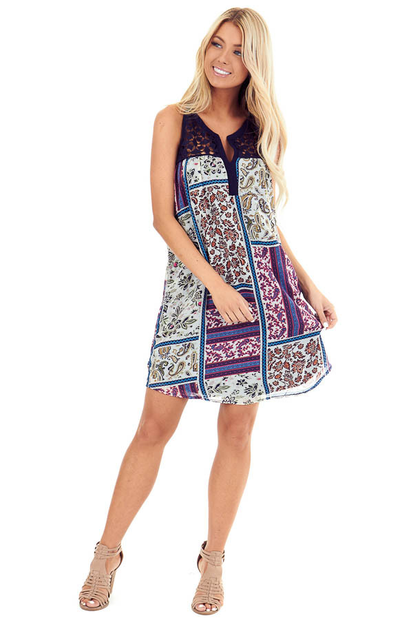 Navy and Multi Color Sleeveless Mini Dress with Multi Print front full body