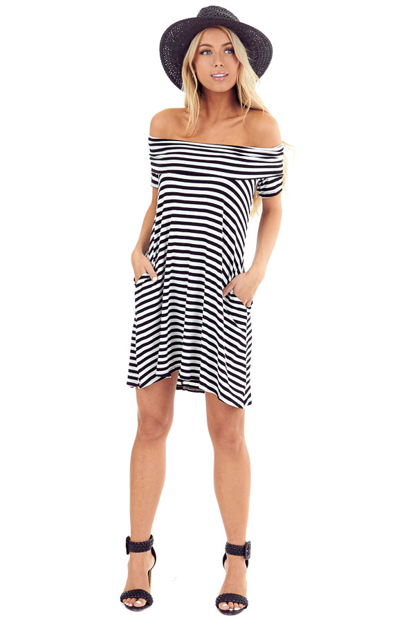 Ink Black and White Stretchy Ribbed Knit Off Shoulder Dress front full body