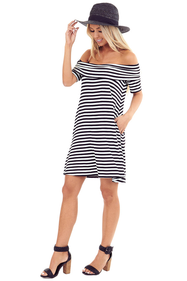 Ink Black and White Stretchy Ribbed Knit Off Shoulder Dress side full body