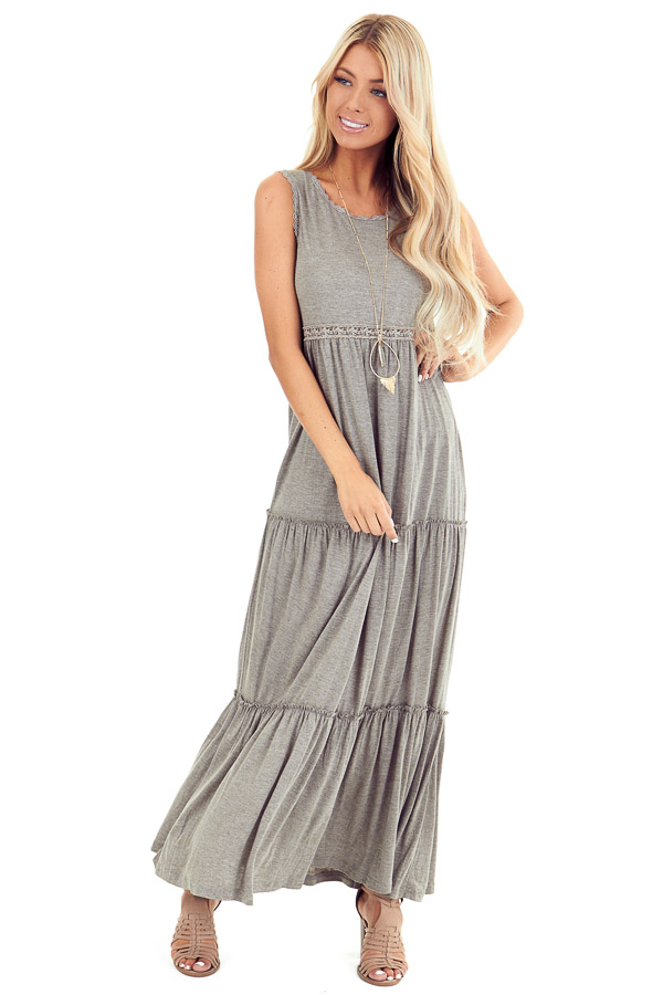 Dusty Olive Tiered Maxi Dress with Crochet Details front full body