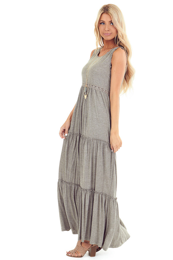 Dusty Olive Tiered Maxi Dress with Crochet Details side full body