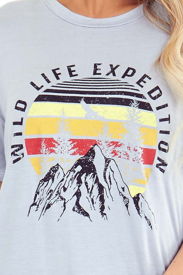 Cement Grey 'Wild Life Expedition' Short Sleeve Graphic Tee detail