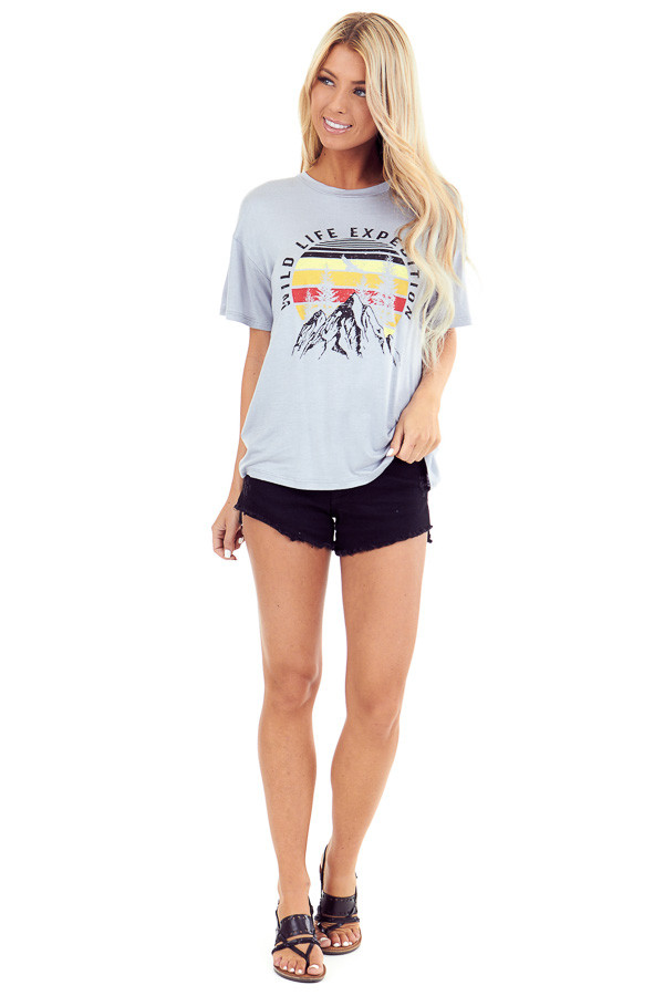 Cement Grey 'Wild Life Expedition' Short Sleeve Graphic Tee front full body